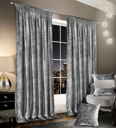 Stylish Crushed Velvet Modern Textured Pencil Pleat Tape Top Pair Of Curtains Silver Colour